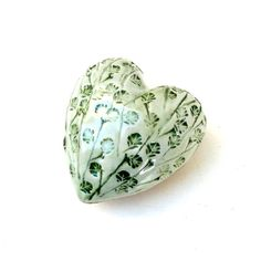 Fresh White And Green Leaves  Heart Ceramic by BlueMagpieDesign