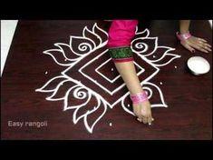 beautiful lotus kolam designs with 11 dots Rangoli Designs Simple Diwali, Indian Rangoli Designs, Rangoli Designs Latest, Free Hand Rangoli Design, Small Rangoli Design, Rangoli Ideas, Rangoli Designs With Dots, Rangoli With Dots, Beautiful Rangoli Designs