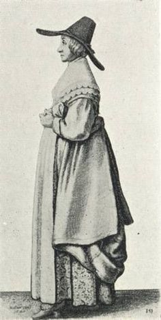 Drawing by Wenceslaus Hollar, circa 1645, illustrating women's fashion history, 17th century, from life subjects.
