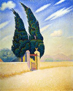 Paul Signac - Two Cypresses, Mistral, 1893 (France, Post-Impressionism / Pointillism, cent. Georges Seurat, Paul Signac, Art Français, Opus, Van Gogh Museum, Art Moderne, Fine Art, Cubism, Claude Monet