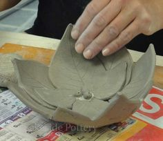 Leaves Bowl - Handbuilding Pottery Projects Ideas and Pictures | Art Studio in Stamford CT