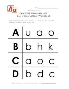 uppercase and lowercase letters worksheet a-d