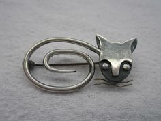 Delfino Taxco Sterling Cat Brooch