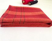 Change Things Up Tea Towel - Hand Woven Cotton Red with Black Pin Stripes Hand Towel Cloth or Table Covering in Goose Eye Twill