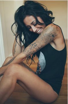 Flower Sleeve Tattoos Girls tattooideaslive.com #flower #sleeve #tattoos