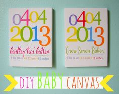 DIY - Canvas for baby room. Pack of 3 canvas and frames, print at home and tada! Home made canvas art for the baby room