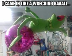 miley cyrus, disco ball, balls, funny captions, funny pictures, funni, kermit, music videos, wreck ball