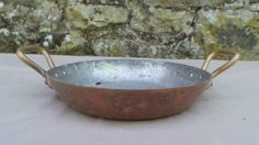 """Copper Au Gratin Pan Pie Dish Copper Roasting Dish Pan Hand Handle 16 cm 61/4"""" Antique Quality French Copper Pan Direct From France by CopperAntiquity on Etsy"""