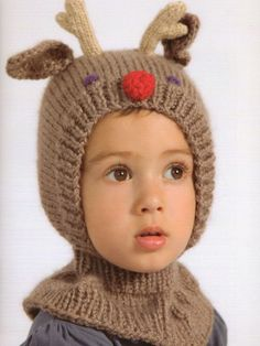 Pattern Books knitting patterns, Adorable Animal Knits For Little People, Dearest Reindeer Hat and Mittens, from Laughing Hens
