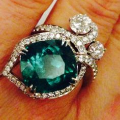 @Boodles emerald ring on the finger. Part of the Million Pound Necklace collection