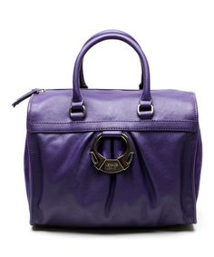 Look what I found on #zulily! Purple Gathered Leather Satchel by Versace Jeans Collection #zulilyfinds