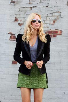 I'd wear this skirt, with a navy turtle neck, tucked in, and navy tights with color blocked, stacked heels...