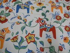 "Scandinavian Fabric Cotton 56"" Ecru Creme with Dala Horses Kurbits   eBay"