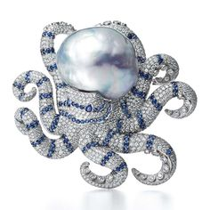 Tiffany Blue Book 2016 baroque pearl brooch with diamonds and sapphires