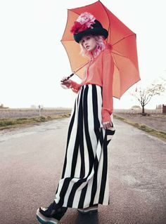 Paul Schmidt for Jalouse June/July 2011...Charlotte Free exemplifies stylish whimsy.  Wandering the woods, Charlotte looks like she just escaped from a Tim Burton film in stylist Anne Sophie Thomas' colorful, stripey selects.