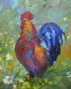 Rooster Paintings Large | Rooster Painting by Leif Ostlund - Rooster Fine Art Prints and Posters ...