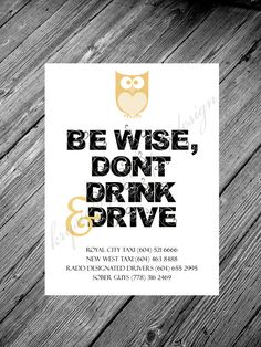 Be Wise, Dont Drink & Drive Owl Themed Taxi Sign, Wedding Sign - Metallic or Solid Paper - Large Wedding Card - 8x10 - Tag on Etsy, $9.00