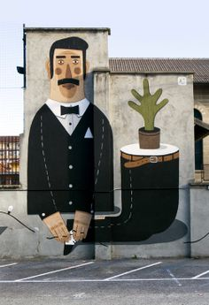 Awesome mural by Agostino Iacurci. This piece is in Turin. http://www.agostinoiacurci.com/abithoudini/