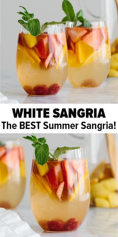 White sangria is the perfect fruity, summer cocktail recipe. A combination of white wine, mango, strawberries, raspberries and orange, its light, sweet, easy to make and presents beautifully // White Wine Sangria Recipe