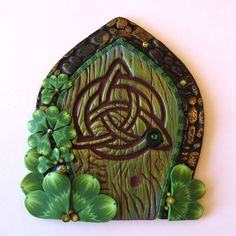 St. Patrick's Day Fairy Door Shamrock Pixie Portal by Claybykim