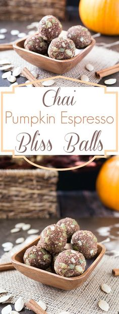 These pumpkin flavored bliss balls are a healthy snack that'll keep your sweet tooth in check. Raw pepitas and walnuts get ground up with warming chai spices, rolled into a ball and dusted with almond flour, cinnamon and espresso powder. After 15 minutes Snacks For Work, Easy Snacks, Healthy Snacks, Diet Snacks, Healthier Desserts, Vegan Snacks, Vegan Desserts, Vegan Food, Delicious Desserts