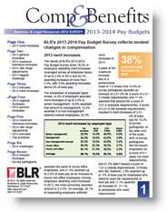 2014 Pay Budget Survey reflects modest changes in compensation