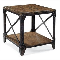 Magnussen Pinebrook End Table in Distressed Pine