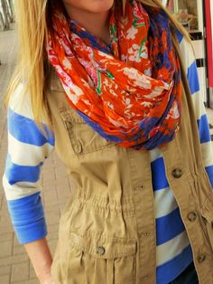Spring fashion - Stripes and floral pattern mixing
