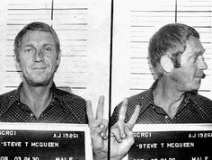 """If Steve McQueen didn't smile through his mugshot, he would have lost his title as """"The King of Cool"""". This mugshot was taken in Anchorage, Alaska when McQueen was caught drunk driving. Boys Republic, Celebrity Mugshots, Celebrity Photos, Celebrity Costumes, Celebrity Deaths, Celebrity Portraits, Photo Steve Mcqueen, Steeve Mcqueen, Photo Star"""