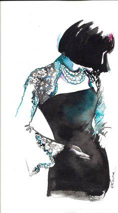 Chanel Fashion Watercolor Illustration   Original by LanasArt, $85.00