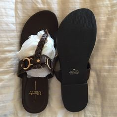 Sandals Very cute never worn Chocolate brown with gold accent sandals size 8 fits like a 7 1/2 Glacee Shoes Sandals