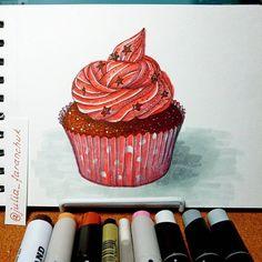 #скетч #маркер #кекс #капкейк #cupcake #illustration  #рисование #творчество