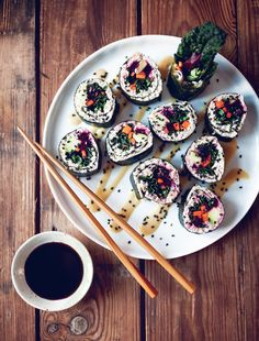 My New Roots Kale Sushi Rolls - obsessed with the wooden table here too!