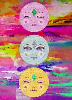 The suns look like the psychedelic versions of the Chloe meme. Illustrations, Illustration Art, Creepy, Psy Art, Sun Moon Stars, Hippie Art, Hippie Vibes, Moon Art, Moon Moon