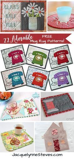 22 FREE mug rug patterns that use applique, embroidery, or simple piecing!