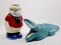 Alligator and Tourist Salt and Pepper Shakers, Ceramic