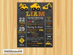 Construction First Birthday Chalkboard Poster | Construction First Birthday Milestone Poster | 1st Birthday | Dump Truck Birthday Party by ThePaperGiraffeShop on Etsy