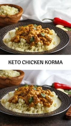 Keto Chicken Korma is a delicious, savory chicken dish in a creamy, Indian spiced sauce with paleo options! Low Carb Chicken Recipes, Keto Chicken, Low Carb Recipes, Cooking Recipes, Healthy Recipes, Soup Recipes, Healthy Food, Korma, Diet