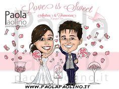 La caricatura di una coppia di sposi con il loro tema del matrimonio: tante caramelle e dolci che cadono dal cielo!   #caricatura #matrimonio #nozze