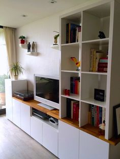 The IKEA Kallax collection Storage furniture is an essential element of any home. Trendy and delightfully simple the corner Kallax from Ikea , for exa Ikea Living Room, Furniture Hacks, Ikea Tv Unit, Ikea Tv, Living Room Tv Stand, Ikea Entertainment Center, Ikea Furniture, Ikea Metod Kitchen, Home Decor