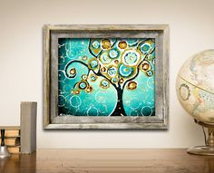 Tree PRINT, Turquoise Wall Art, Whimsical Tree of Life Art, Curly Tree Woodland Wall Decor, Signed Print