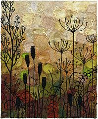 Autumn Silhouette (Kirsten Chursinoff) Tags: autumn art garden weeds embroidery silhouettes seeds textile seedpods pods machineembroidery fibre umbel fabriccollage umbelliforms