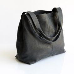 Dark Grey Leather Tote Bag- Soft Leather Bag - Big Gray Nubuck ...