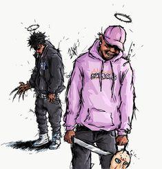 X & Ski (Freddy vs Jason) Art by Dope Cartoon Art, Dope Cartoons, Miss X, Black Anime Characters, Rapper Art, Rap Wallpaper, Dope Wallpapers, Hypebeast Wallpaper, Hip Hop Art