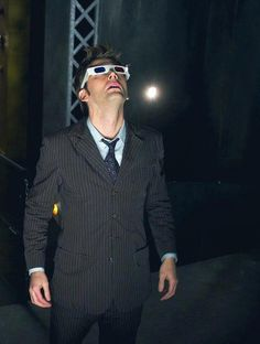 Tenth Doctor with his 3D glasses