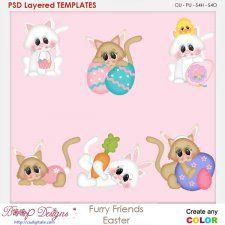 Furry Friends Easter Layered Element Templates cudigitals.com clipart template cu commercial scrap scrapbook digital graphics #cu #scrapbooking #photoshop #digiscrap