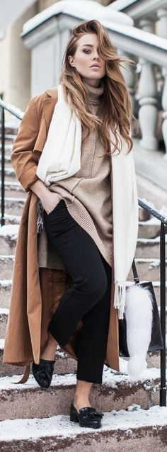 Black, White And Camel Winter Outfit by Angelica Blick