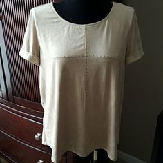 Short-sleeved Top❤️ Ultra soft material with short cuffed sleeves; beige with stud detail; NWOT new directions Tops