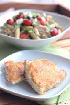 Nudelsalat mit Pesto + Putenschnitzel