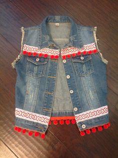 Bright festival Indian inspired denim vest with pompons and Jean Jacket Design, Denim Vests, Stylish Dress Designs, Denim Crafts, Vintage Embroidery, Embroidery Patterns, Embellished Jeans, Diy Jeans, Fashion Outfits